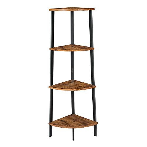 EPHEX Eckregal, Bücherregal mit 4 Etagen Leiterregal, Standregale im Vintage-Industrie-Design Badregal aus Metall für den Rahmen, für Zuhause Wohnzimmer Schlafzimmer Balkon, Vintage Braun