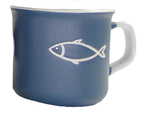 osters muschel-sammler-shop Kaffeebecher-Tasse maritim - Keramik ┼ 200ml ┼ Teebecher ┼ Strandtasse-Becher ┼ Geschenk-Artikel (Fisch blau)