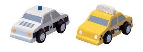 PlanToys - PT6073 - Jouet Premier Age - Jouet en Bois - Taxi et Voiture de Police