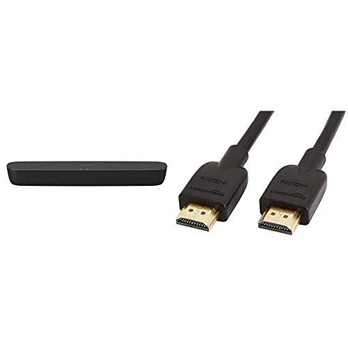 Panasonic SC-HTB200EGK 2.0 Soundbar für TV (Dolby Soundbar, Bluetooth) schwarz & AmazonBasics – Hochgeschwindigkeitskabel, Ultra HD HDMI 2.0, unterstützt 3D-Formate, mit Audio Return Channel, 1,8 m