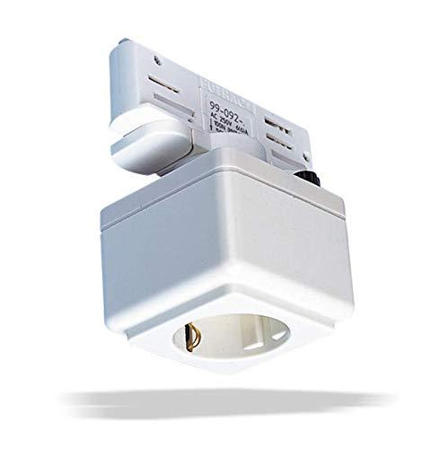 Steckdose mit Adpater für 3 Phasen Stromschienen weiß