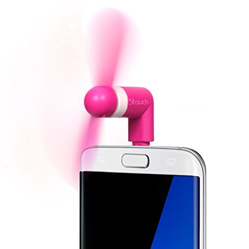 Stouch Mini Portable Dock Cool Cooler Rotating Fan for Micro USB Samsung S7 S7 Edge S5 HTC Moto Andriud Drive (MicroUSB Pink)