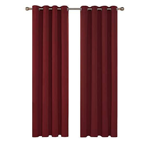 Deconovo Verdunkelungsgardine mit Ösen Gardinen Wohnzimmer Vorhang Blickdicht 290x140 cm Rot 2er Set
