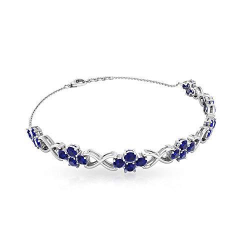 4.2 Ct Certified Sapphire Diffused Cluster Bracelet, Unique Infinity Chain Bracelet, Statement Gemstone Tennis Bracelet, Classic Bridal Charm Bracelet, 18K White Gold