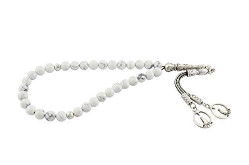 Gök-Türk Gebetskette - Tesbih Tasbih mit 33 Perlen - Marmor Farbe, weiss (Wolf) Bozkurt Ertugrul Alttürkisch Türk Ay Yildiz Stern