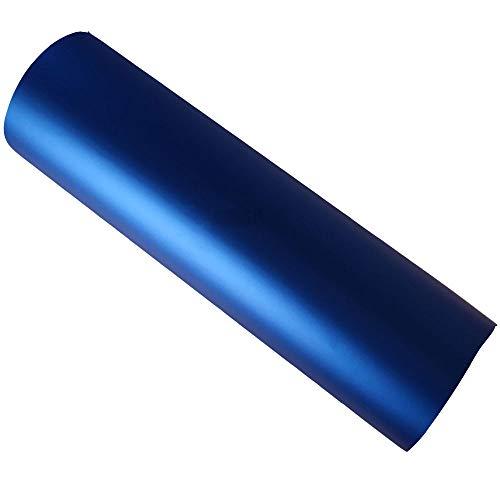 Película de vinilo HOHO, para coche, acabado satinado mate, cromo, azul, sin burbujas, 152 x 50,8 cm