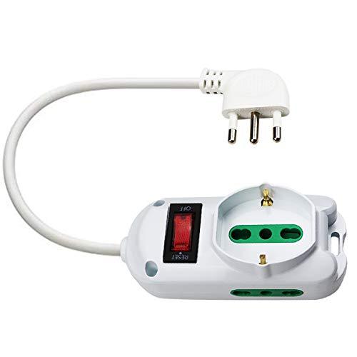 EXTRASTAR Toma con interruptor automático de protección 10 A, regleta protegida, surge Arrest, 1 toma universal Sicury, 2 tomas bitomas Sicury, cable blanco de 1,5 metros