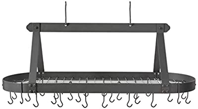 Oval Hanging Pot Rack with Grid & 24 Hooks by