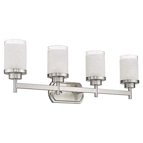 Jazava Modern Bath Vanity Light Fixture, 4-Light Bathroom Wall Sconce, 30 inches Bath Vanity Light Fixture, Etched Linen Frosted Glass, Brushed Nickel Finish