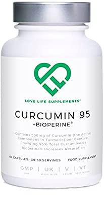 Curcumin 95 + Bioperine® by LLS | Highest Quality Turmeric Curcumin Capsules containing 96.9% Curcuminoids (Third Party Tested) and Bioperine® (black pepper extract) | 500mg x 60 Veg Capsules | Manufactured in UK under GMP License
