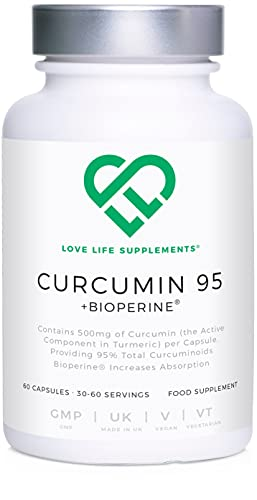 Curcumin 95 + Bioperine by LLS | Highest Quality Turmeric Extract (Curcumin) containing 96.9% Curcuminoids (Third Party Tested) and Bioperine (black pepper extract) | 500mg x 60 Veg Capsules | Manufactured in UK under GMP License