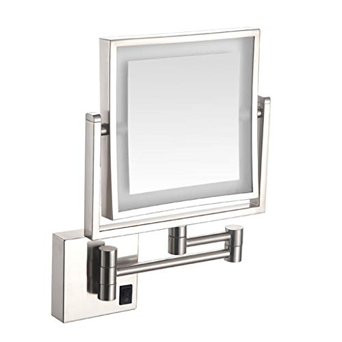 ALWUDI LED Makeup Vanity Mirrors, Square Double Sided Lighted Cosmetic Mirror Wall Mounted Bathroom Mirrors, Dark Installation,Brushed_8 inch
