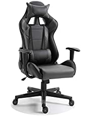 Mahmayi C599 Adjustable PU Leather Gaming Chair - PC Computer Chair for Gaming, Office or Students, Ergonomic Back Lumbar Support (Grey, No Footrest)