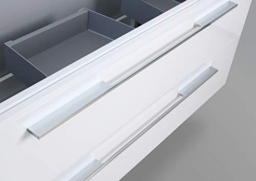 Intarbad ~ Waschtisch Unterschrank zu Laufen Pro Doppelwaschtisch 130 cm Waschbeckenunterschrank Weiß Hochglanz Lack IB334