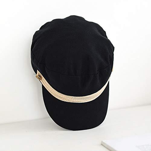 Sombrero Femenino Salvaje Vendedor de peridicos Sombrero britnico literario Octogonal Cap Remache Azul Marino Gorra Boina Negro M (56-58cm)