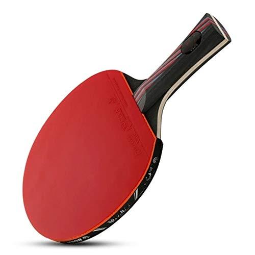 BTTNW Paleta De Ping Pong 1 unids de Nivel de Rendimiento Tabla de Tenis Raqueta aprobada por Paloma de Goma Pong Se Dan La Mano Grips (Color : Red, Size : Long Handle)