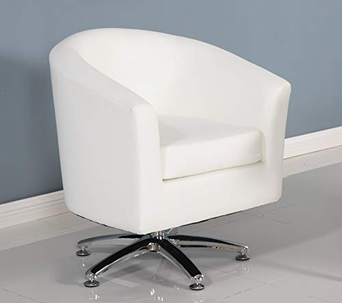 Designer Leather Swivel Tub Chair Armchair Dining Living Room Office Reception (White)