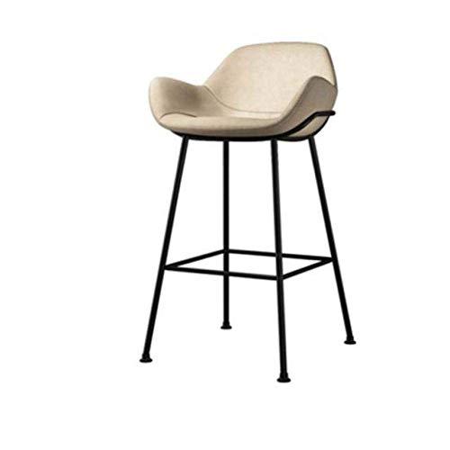 JBNJV Vintage Retro Barhocker Designer Rustikale Küche Barhocker Rückenlehne Island Counter Pub Stühle mit Fußstütze Home Dining Chair Home Decoration-White_65cm