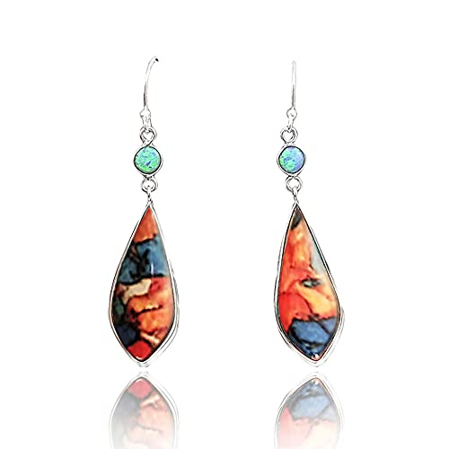 Hithop Premium Quality Shining Rhinestone Earring for Women,Vintage Women Jewelry Faux Turquoise Rhinestone Dangle Ear Hook Drop Earrings - Colorful