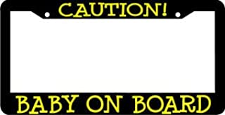 Personalized City Baby on Board Caution License Plate Frame