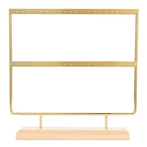 Bayda - Pendientes de oro con soporte para pendientes de madera, porta joyas de madera, con plata/plano, para pendientes, collar, pulsera, anillos, 40 agujeros