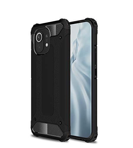 BAIDIYU Funda para Xiaomi Mi 11 teléfono móvil, absorción de golpes, resistencia a caídas, TPU suave + PC duro diseño de doble capa es adecuado para Xiaomi Mi 11.(negro)