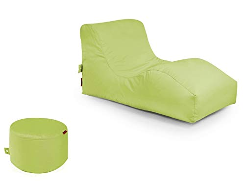 Outbag 2er Set Sitzsack Wave mit Rock l Gartenliege l Limegrün