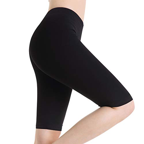 Ferrieswheel Story Women Yoga Stretch Short Shorts Under Skirt Leggings Knee Lenght Pants Fitness Black