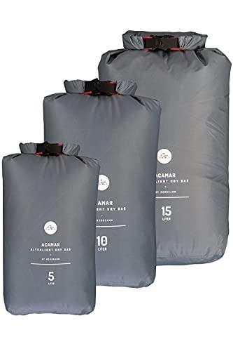 NORDKAMM Bolsa seca, 5, 10, 15 o set, ultra ligera, azul (gris, set de 5, 10, 15 L)