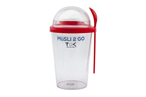 TOK Müslibecher to go/Joghurt to go Becher mit Löffel/komplett dicht, BPA frei, wiederverwendbar / 450 ml Becher & 150 ml Deckel/Reise-Müsli-Becher für den gesunden Snack unterwegs/Rot Coralle