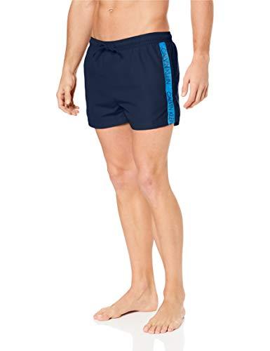 Calvin Klein Uomo Short Swimshorts con Coulisse, Blu, Large