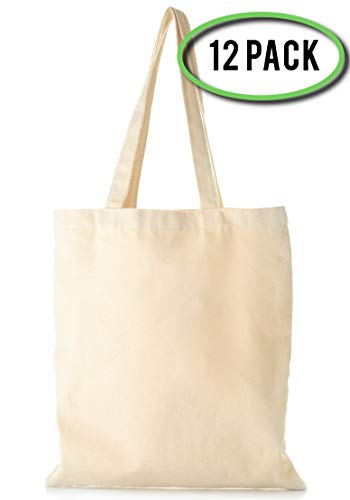 Wholesale Canvas Tote Bags in Bulk - 12 Pack - Reusable Plain Cotton Canvas Bags 15 X 16 Blank Tote Bags for Crafts, Grocery Shopping, Events, Business Promotions and More!
