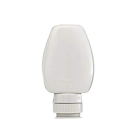 HSC Reise-Aufbewahrungsflasche, tragbar, wiederverwendbar, auslaufsicher, nachfüllbar, für Toilettenartikel, Shampoo 60 ml, 1 Stück, Hellgrau.