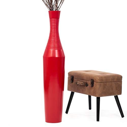 Leewadee Grande Vaso da Terra: Vaso Alto, Elemento Decorativo Fatto a Mano in Legno Esotico, Vaso per per Rami Decorativi, 112 cm, Rosso