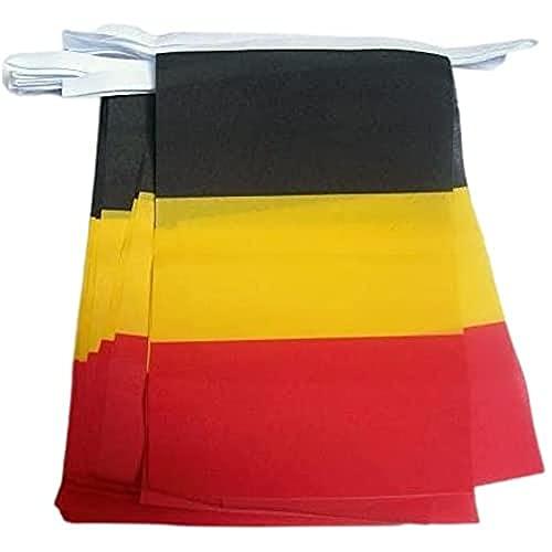AZ FLAG FAHNENKETTE Belgien 6 Meter mit 20 flaggen 21x14cm - BELGISCHE Girlande Flaggenkette 14 x 21 cm