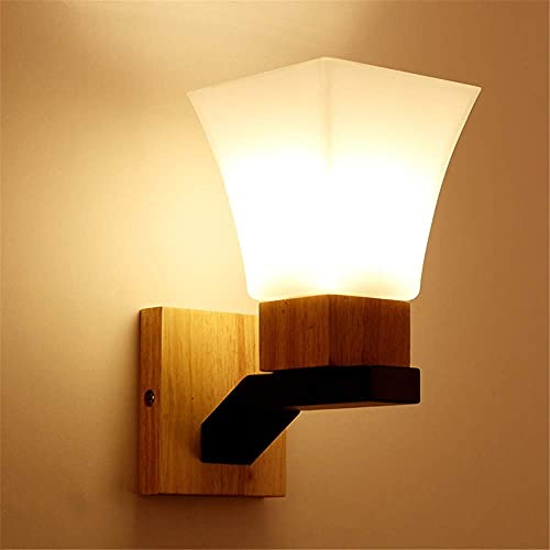 Lámparas de Pared,Lámparas de lectura Lámparas de pared de madera vintage Apliques industriales E27 con pantallas de vidrio retro Lámparas de pared LED para sala de estar, dormitorios