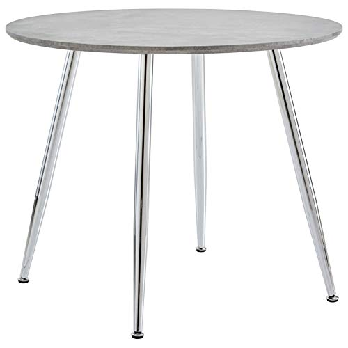 Festnight Tavolo da Pranzo Cemento e Argento 90x73,5 cm in MDF