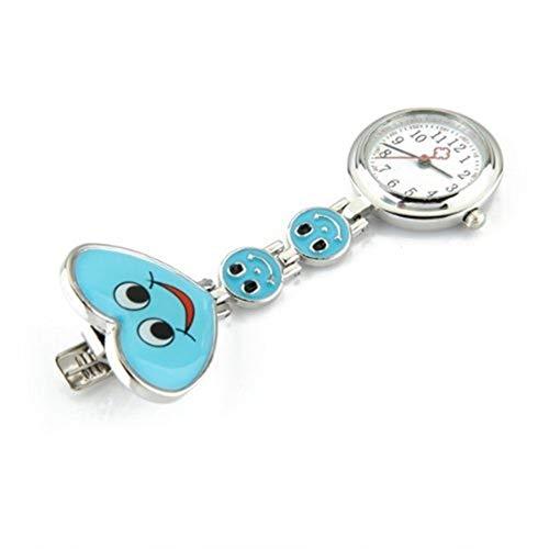 Broche de Reloj de Enfermera La Cara Sonriente Azul patrón de Cuarzo de la Enfermera Broche del Movimiento del Reloj de la túnica del Fob de Bolsillo Pendiente Reloj Colgante (Color : Blue)