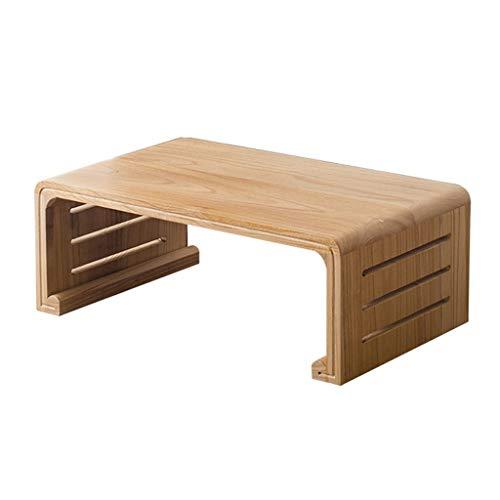 Tables Basse Baie Vitrée Plateforme en Bois Massif Basse Bureau D'étude Basse Salon Basse Basses (Color : Beige, Size : 50 * 40 * 30cm)