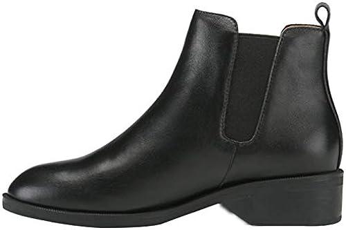 AILINSHA Stiefel Damen Rundkopf Flat Mit Martin Stiefel Classic Classic Classic schwarz Fashion Leder Stiefeletten  beeilte sich zu sehen