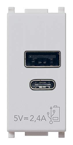 Vimar 14292.AC.SL Plana Presa USB 5 V 2,4 A, 1 uscita USB tipo A e 1 tipo C, erogano complessivamente 2,4 A per caricare contemporaneamente due dispositivi
