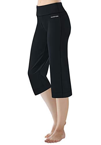 HISKYWIN 17'/23'/27'/29'/31'/33'/35' Inseam Capri/Petite/Regular/Tall Length Women's Straight Leg Yoga Pants Zip Pocket HF604-Black-M