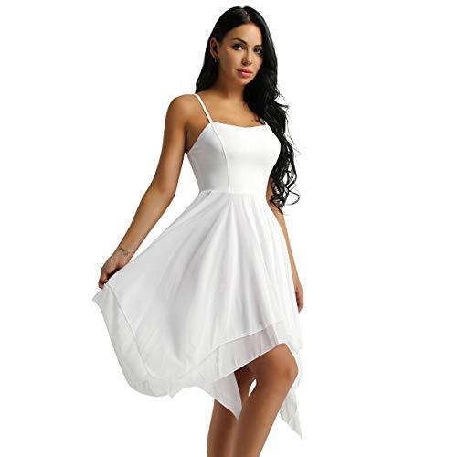 easyforever Women's Elegant Lyrical Ballet Contemporary Dance Dresses Asymmetric Sweetheart Dress White X-Large