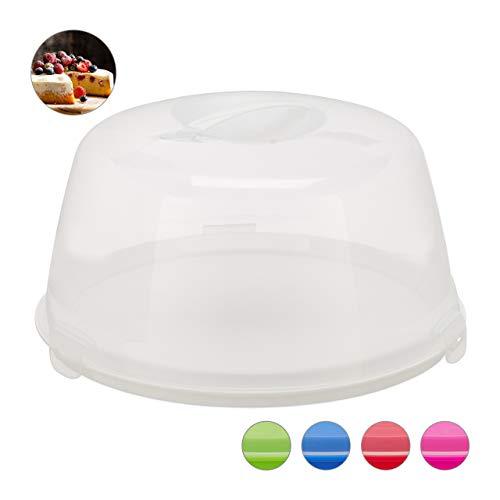Relaxdays Kuchenbox rund, Tragegriff, Deckel, Kuchen & Torten, Muffins Transportbox, HxD: 18,5 x 35 cm, weiß/transparent