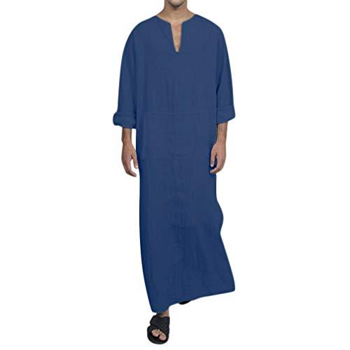 Uomo Vintage Etnico Caftano Biancheria di Cotone Saudi Tradizionale Lunga Camicia Jalabiya Maniche Corte Festa Robe Sciolti Tinta Unita Lunghi Vestito con Tasca