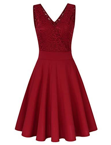 Clearlove Damen Rockabilly Kleid Knielang Vintage Retro Kleider Faltenrock, weinrot, L