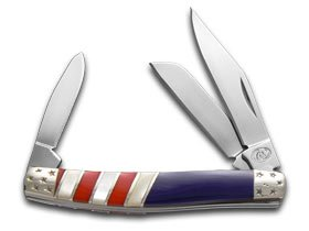 Silverhorse Exotic Stone American Flag Series Stockman Stainless Pocket Knife Knives