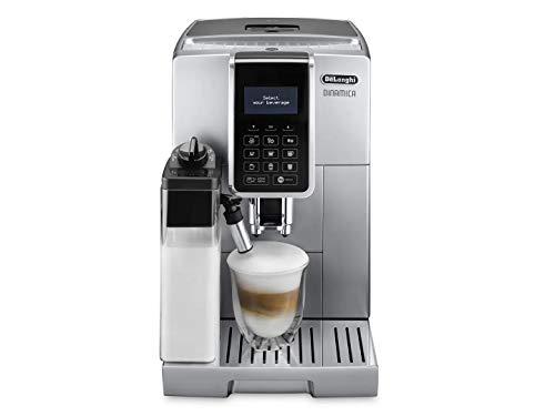 De'Longhi Dinamica ECAM 350.75.S Kaffeevollautomat mit Milchsystem, Cappuccino und Espresso und auf Knopfdruck, Digitaldisplay mit Klartext, 2-Tassen-Funktion, Großer 1,8 Liter Wassertank, silber