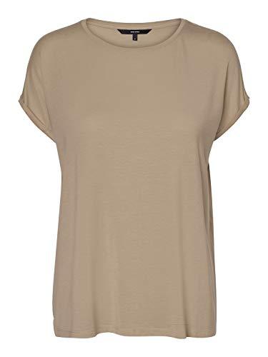 VERO MODA Damen Vmava Plain Ss Top Ga Noos T-Shirt, Nomad, S