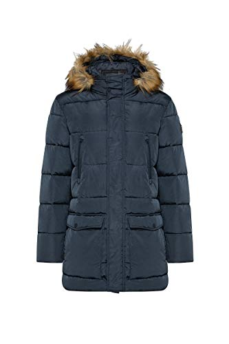 BOXEUR DES RUES - Quilted Collar Detachable Hooded Parka with Faux Fur Trim, Uomo, L